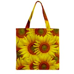 Sunflowers Background Wallpaper Pattern Zipper Grocery Tote Bag by Nexatart