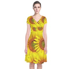 Sunflowers Background Wallpaper Pattern Short Sleeve Front Wrap Dress
