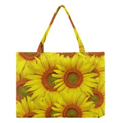 Sunflowers Background Wallpaper Pattern Medium Tote Bag