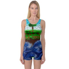 Beaded Landscape Textured Abstract Landscape With Sea Waves In The Foreground And Trees In The Background One Piece Boyleg Swimsuit