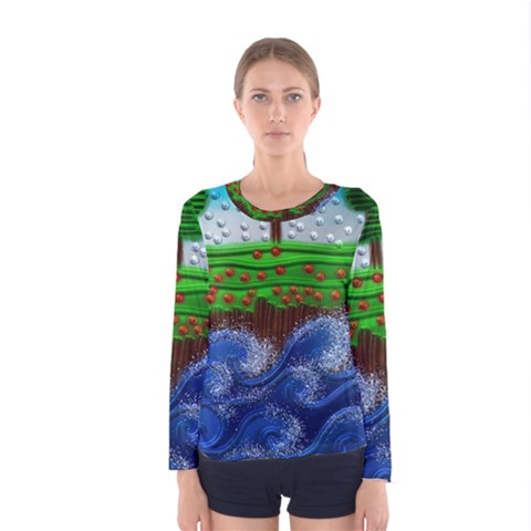 Beaded Landscape Textured Abstract Landscape With Sea Waves In The Foreground And Trees In The Background Women s Long Sleeve Tee by Nexatart