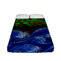 Beaded Landscape Textured Abstract Landscape With Sea Waves In The Foreground And Trees In The Background Fitted Sheet (full/ Double Size) by Nexatart