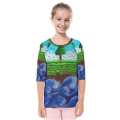 Beaded Landscape Textured Abstract Landscape With Sea Waves In The Foreground And Trees In The Background Kids  Quarter Sleeve Raglan Tee