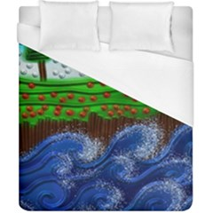 Beaded Landscape Textured Abstract Landscape With Sea Waves In The Foreground And Trees In The Background Duvet Cover (california King Size)