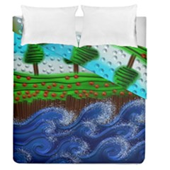Beaded Landscape Textured Abstract Landscape With Sea Waves In The Foreground And Trees In The Background Duvet Cover Double Side (queen Size)