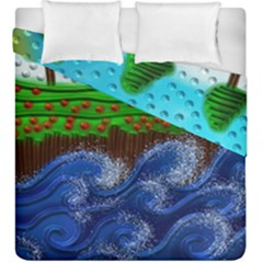 Beaded Landscape Textured Abstract Landscape With Sea Waves In The Foreground And Trees In The Background Duvet Cover Double Side (king Size)