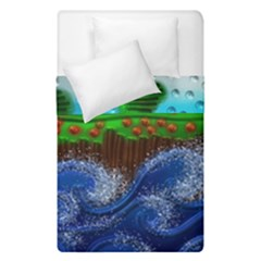 Beaded Landscape Textured Abstract Landscape With Sea Waves In The Foreground And Trees In The Background Duvet Cover Double Side (single Size)