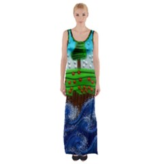 Beaded Landscape Textured Abstract Landscape With Sea Waves In The Foreground And Trees In The Background Maxi Thigh Split Dress