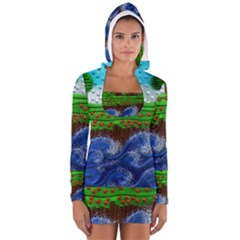 Beaded Landscape Textured Abstract Landscape With Sea Waves In The Foreground And Trees In The Background Women s Long Sleeve Hooded T Shirt