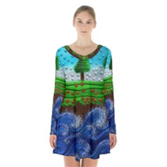 Beaded Landscape Textured Abstract Landscape With Sea Waves In The Foreground And Trees In The Background Long Sleeve Velvet V Neck Dress