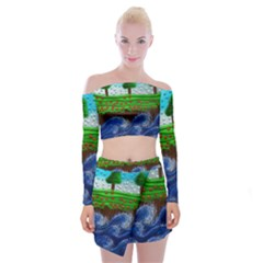 Beaded Landscape Textured Abstract Landscape With Sea Waves In The Foreground And Trees In The Background Off Shoulder Top With Skirt Set
