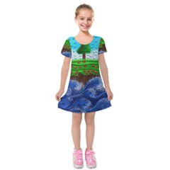 Beaded Landscape Textured Abstract Landscape With Sea Waves In The Foreground And Trees In The Background Kids  Short Sleeve Velvet Dress