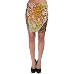 Abstract Starburst Background Wallpaper Of Metal Starburst Decoration With Orange And Yellow Back Bodycon Skirt by Nexatart