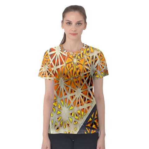 Abstract Starburst Background Wallpaper Of Metal Starburst Decoration With Orange And Yellow Back Women s Sport Mesh Tee by Nexatart