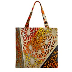 Abstract Starburst Background Wallpaper Of Metal Starburst Decoration With Orange And Yellow Back Zipper Grocery Tote Bag by Nexatart