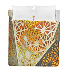 Abstract Starburst Background Wallpaper Of Metal Starburst Decoration With Orange And Yellow Back Duvet Cover Double Side (full/ Double Size)