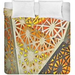 Abstract Starburst Background Wallpaper Of Metal Starburst Decoration With Orange And Yellow Back Duvet Cover Double Side (king Size) by Nexatart