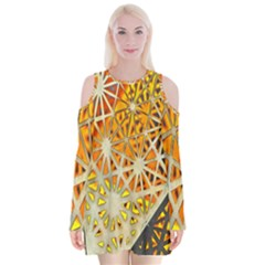 Abstract Starburst Background Wallpaper Of Metal Starburst Decoration With Orange And Yellow Back Velvet Long Sleeve Shoulder Cutout Dress