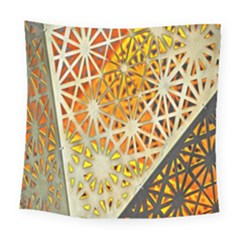 Abstract Starburst Background Wallpaper Of Metal Starburst Decoration With Orange And Yellow Back Square Tapestry (large) by Nexatart