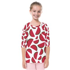 Fruit Watermelon Seamless Pattern Kids  Quarter Sleeve Raglan Tee by Nexatart