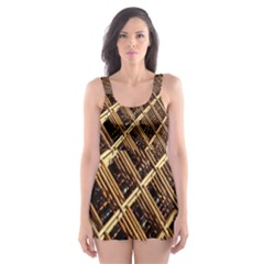 Construction Site Rusty Frames Making A Construction Site Abstract Skater Dress Swimsuit by Nexatart
