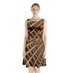 Construction Site Rusty Frames Making A Construction Site Abstract Sleeveless Chiffon Waist Tie Dress
