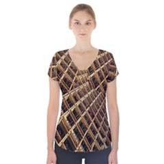 Construction Site Rusty Frames Making A Construction Site Abstract Short Sleeve Front Detail Top by Nexatart