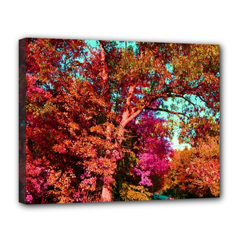 Abstract Fall Trees Saturated With Orange Pink And Turquoise Canvas 14  X 11  by Nexatart