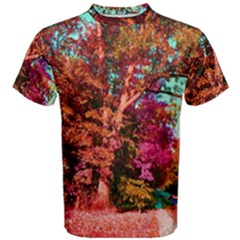 Abstract Fall Trees Saturated With Orange Pink And Turquoise Men s Cotton Tee