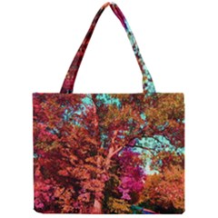 Abstract Fall Trees Saturated With Orange Pink And Turquoise Mini Tote Bag by Nexatart