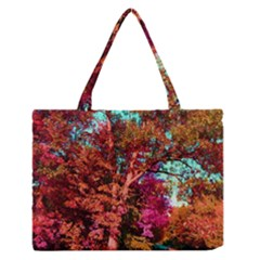 Abstract Fall Trees Saturated With Orange Pink And Turquoise Medium Zipper Tote Bag by Nexatart
