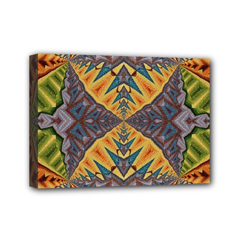 Kaleidoscopic Pattern Colorful Kaleidoscopic Pattern With Fabric Texture Mini Canvas 7  X 5