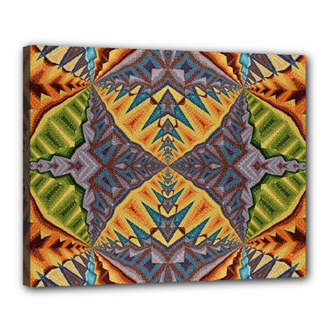 Kaleidoscopic Pattern Colorful Kaleidoscopic Pattern With Fabric Texture Canvas 20  X 16  by Nexatart