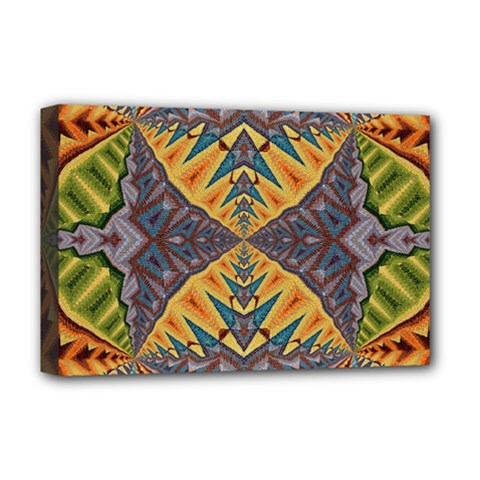 Kaleidoscopic Pattern Colorful Kaleidoscopic Pattern With Fabric Texture Deluxe Canvas 18  X 12   by Nexatart