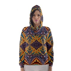 Kaleidoscopic Pattern Colorful Kaleidoscopic Pattern With Fabric Texture Hooded Wind Breaker (women)