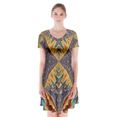 Kaleidoscopic Pattern Colorful Kaleidoscopic Pattern With Fabric Texture Short Sleeve V Neck Flare Dress by Nexatart
