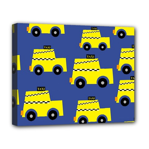A Fun Cartoon Taxi Cab Tiling Pattern Deluxe Canvas 20  X 16   by Nexatart