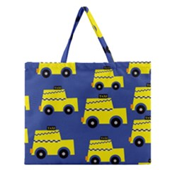 A Fun Cartoon Taxi Cab Tiling Pattern Zipper Large Tote Bag by Nexatart