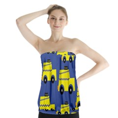 A Fun Cartoon Taxi Cab Tiling Pattern Strapless Top by Nexatart