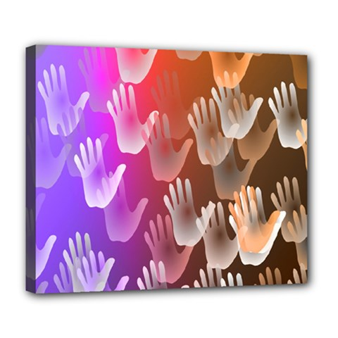 Clipart Hands Background Pattern Deluxe Canvas 24  X 20