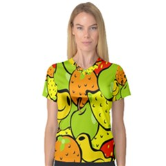 Digitally Created Funky Fruit Wallpaper Women s V Neck Sport Mesh Tee