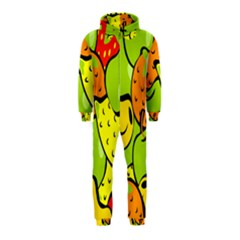 Digitally Created Funky Fruit Wallpaper Hooded Jumpsuit (kids) by Nexatart