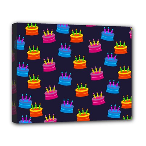 A Tilable Birthday Cake Party Background Deluxe Canvas 20  X 16   by Nexatart