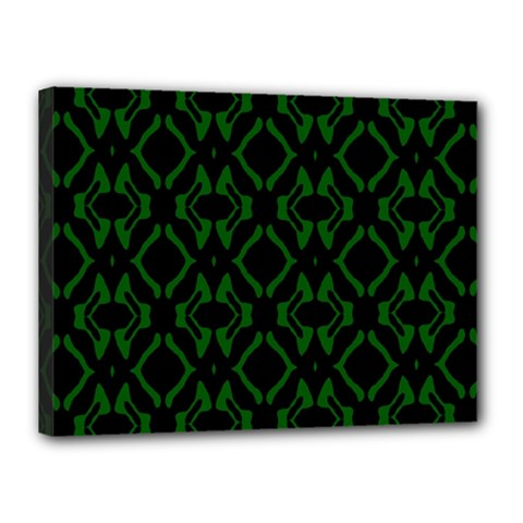 Green Black Pattern Abstract Canvas 16  X 12