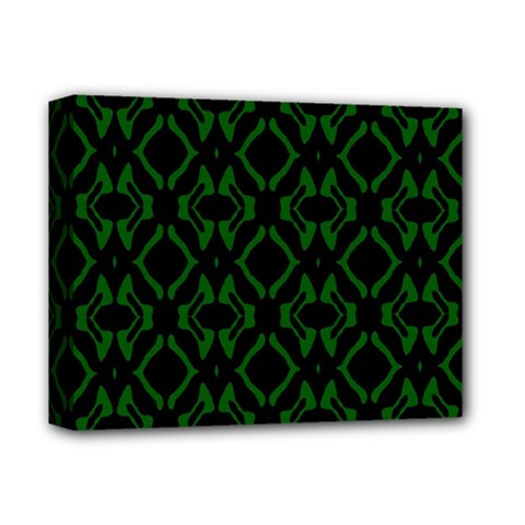Green Black Pattern Abstract Deluxe Canvas 14  X 11  by Nexatart