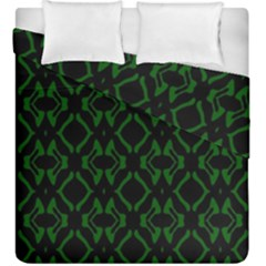 Green Black Pattern Abstract Duvet Cover Double Side (king Size)