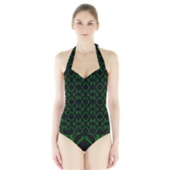 Green Black Pattern Abstract Halter Swimsuit by Nexatart