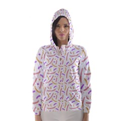 Confetti Background Pink Purple Yellow On White Background Hooded Wind Breaker (women)