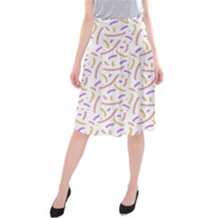 Confetti Background Pink Purple Yellow On White Background Midi Beach Skirt