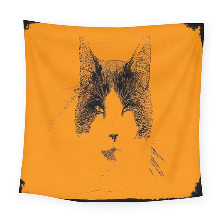 Cat Graphic Art Square Tapestry (Large)